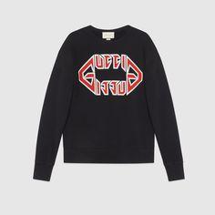 Pre-Owned Gucci Black Cotton Knitwear Gucci Sweatshirt, Graphic Sweatshirt, Sweat Shirt, Gucci Logo, Mens Sweatshirts, Hoodies, Gucci Men, Italian Fashion, Contemporary Fashion