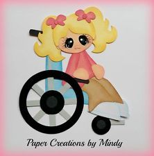 Girl in Wheelchair  premade paper piecing for scrapbooking page album border