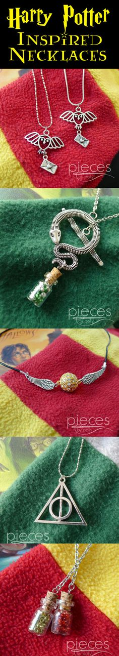 Lots of Harry Potter inspired necklaces...Hedwig Owl Post, Potions, Necklaces, Slytherin Snake Necklace, Snitch Necklace