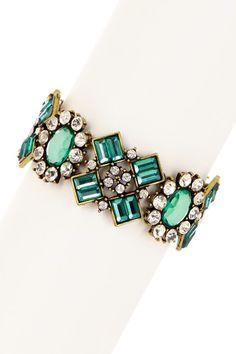 Ornate Green Oval & Baguette Embellished Crystal Stretch Bracelet by Sparkling Sage on @HauteLook