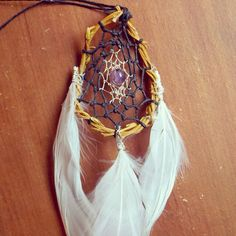 Small Amethyst Dream Catcher for Car Rear by GratefullyDreaming on Etsy