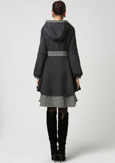 Dark Grey Wool and Houndstooth Fabric Midi Coat with by xiaolizi