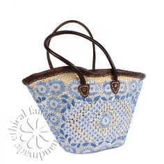 Moroccan Shopping Basket Berber, Blue