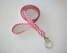 Lanyard  ID Badge Holder  NEW THINNER design  Red and by Laa766, $7.75  Great for teachers, coaches, nurses, and students. preppy / fabric /cute / patterns / key chain / keychain / girly / badge / key leash