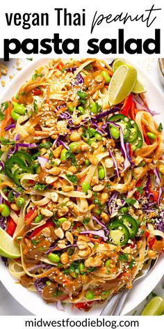 This vegan Thai Peanut Pasta Salad is loaded with fresh crisp veggies, perfectly al dente noodles, and a hearty drizzle of creamy, tangy Thai-inspired peanut dressing. Garnish with chopped peanuts and sesame seeds for some added crunch! Thai Peanut Salad, Peanut Dressing, Yummy Food, Tasty, Pasta Salad, Noodles, Vegetarian Recipes, Food And Drink, Veggies