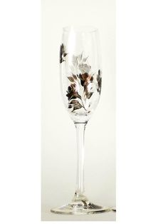 Hand Painted Champagne Toasting Glasses - Copper and Jet Black Roses Original Design, CRYSTAL Set of 2 - Bridesmaid Summer Wedding Flutes