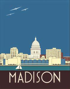 Madison wisconsin mid west art madison skyline madison horizontal the spalenka letters madison wisconsin art deco skyline publicscrutiny Choice Image