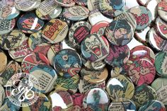 Comic Book Buttons  5 Piece Assortment  Made from by doctorgus, $5.99