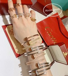 The Most Amazing Stacking Cartier Juste Un Clou Bracelets And Rings .How deep you love him/her,Cartier Juste Un Clou bracelets and rings can prove! Cartier Nail Bracelet, Ring Bracelet, Love Bracelets, Bangles, Cartier Love Ring, Which One Are You, Fine Watches, Body Jewellery, Necklaces