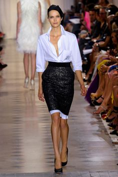 Giambattista Valli l Sequin pencil skirt + a crisp white shirt + silk head scarf