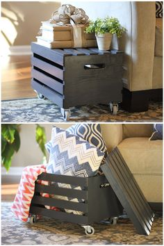 Need some rustic functionality in your home decor? This stylish and useful wood crate organizer doubles as an end table!