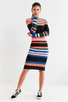 Shop for STYLEKEEPERS Striped Knit Bodycon Midi Dress at ShopStyle.com