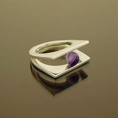 Stunning ring, Purple gemstone ring, Agate Silver ring, Single gemstone ring, Natural Agate ring, bling ring, Double ring, Silver ring