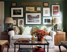 green gallery wall study