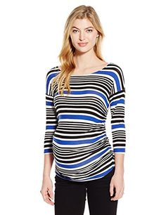 0a10a7ce Jules Jim Womens Maternity 34 Sleeves Top Shirring At Sides Azure Stripes  Medium * Continue to the product at the image link.Note:It is affiliate  link to ...