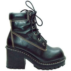90s Lace up Black Chunky Platform Ankle Boots Womens Size 8 military... ($81) ❤ liked on Polyvore featuring shoes, boots, ankle booties, lace-up bootie, black laced booties, short black boots, ankle boots and laced up platform booties
