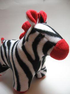 Felisha the Zebra, red, fleece, plush stuffed animal. $30.00, via Etsy.