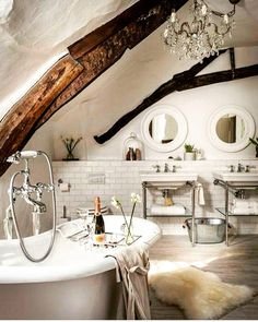 Bathroom. Bath tub. Sinks. Ceiling.