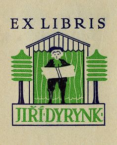 Bookplate of Jiri Dyrynk Description: States, 'Ex Libris Jiri Dyrynk;' depicts a man holding an open book in front of a building and surrounded by two trees. Unsigned.   Format: 1 print, col., 8 x 6 cm.   Source: Pratt Institute Libraries, Special Collections 325 (sc00439)   Pratt Libraries Website For inquiries regarding permissions and use fees, please contact: rightsandrepro.library@pratt.edu.