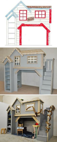 The Spanky's Clubhouse Bunk Bed and Playhouse is a fan favorite for sure. This incredibly versatile, gender neutral design can be a bunk bed, loft bed, or indoor playhouse. And to think, it all began with a simple drawing. Click to see more versions of Spanky's Clubhouse.