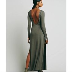 Backless Free people maxi Perfect condition. Brand new. Soft material. Slit that goes to your hip. Got a size Small when I should have gotten XS :( when I sell this one I'm immediately buying it in a size XS, it's such a beautiful dress !! :) Free People Dresses Maxi
