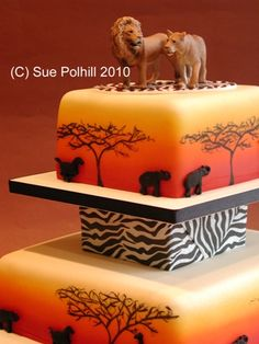 african theme cake-- haha my wedding cake? Lion Cakes, Lion King Cakes, Cupcakes, Cupcake Cakes, Beautiful Cakes, Amazing Cakes, Lion King Wedding, Africa Cake, African Wedding Cakes