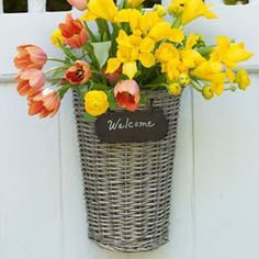 Welcome basket w/ chalkboard - made from Willow Tree branches -- Mine is on it's way!