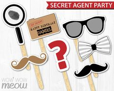 Secret Agent Spy Photo Props INSTANT DOWNLOAD by wowwowmeow