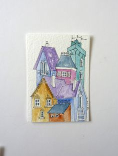 House no.4 An ACEO original watercolour painting