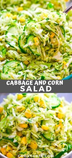 This Cabbage Salad with Corn is made with only a few ingredients and it tastes fantastic! It makes the perfect side dish for almost any kind of meal. Salad Recipes Healthy Lunch, Vegetable Salad Recipes, Corn Salad Recipes, Best Salad Recipes, Cabbage Recipes, Vegetable Dishes, Vegetarian Recipes, Healthy Eating, Cooking Recipes