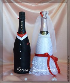 """Оформление бутылок шампанского """"Элегия"""" - чёрно-белый,оформление шампанского"""