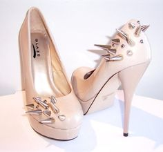 Asymmetrical Spiked Patent Leather Pumps Nude by VileBroccoliFur - StyleSays