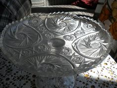 Estonian glass cake plate, over a century old