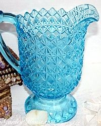 Antique EAPG Aqua Blue Glass Pitcher-antique, early, american, pressed, lemonade,ice, tea, sweet, water, table, service