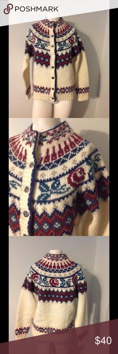Vintage Woolrich Wool Fair Isle Cardigan Sweater S Gorgeous vintage Woolrich sweater. Cream with a fair isle design. Made of 90% wool 10% mohair in size Small. Great condition- no flaws. Woolrich Sweaters Cardigans