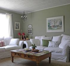 Living Room Decor Green Layout - the in this sage green living room decorating ideas looks Living Room Decor Green Walls, Sage Living Room, Fancy Living Rooms, Brown And Blue Living Room, Cream Living Rooms, Ikea Living Room, Green Home Decor, Living Room Color Schemes, Living Room Colors