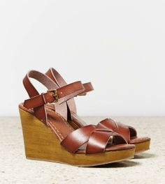American Eagle Outfitters  AEO Strappy Wooden Wedge
