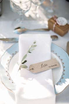 Simple place card tags, delicate white and blue china. A collection of the dreamiest and most unique winter wedding ideas you can steal for those planning to tie the knot during the colder season, Wedding Places, Wedding Place Cards, Wedding Menu, Diy Wedding, Wedding Ideas, Wedding Bouquets, Wedding Flowers, Vintage Winter Weddings, Provence Wedding