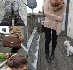Oversized sweater, leggings & combat boots