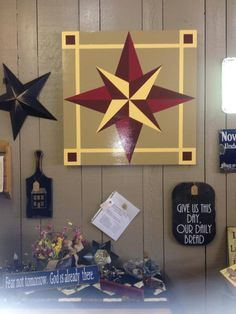 Barn Quilt Designs, Barn Quilt Patterns, Quilting Designs, Star Quilts, Quilt Blocks, Wood Crafts, Diy And Crafts, Amish Barns, Painted Barn Quilts