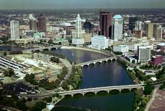 Columbus, Ohio Skyline. Times have changed. There was one main bridge to connect to the 'west side' from downtown. Now look at the changes in the skyline and more bridges.