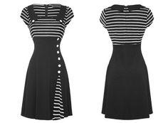 Voodoo Vixen New Womens Black White 50s 60s Flared Party Work Career Dress [ UK & Ireland £54.99 ]
