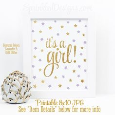 It's A Girl Sign, Twinkle Twinkle Little Star Baby Shower Decorations, Baby Shower Sign, Lavender Purple Gold Glitter Printable Party Sign by SprinkledDesigns.com