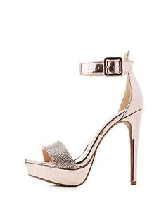 66619e7a8093 Qupid Crystal Two-Piece Platform Sandals Sparkly High Heels