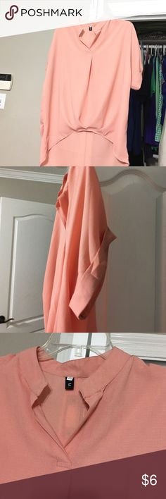 Peach rayon blouse size L Cute rayon blouse never worn! Says 4X but fits like a L.....gathers in front cute and flows nice! Tops Blouses