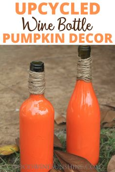 Upcycled Wine Bottle Pumpkin Decor | Grab those wine bottles out of the recycling bin and upcycle them into these adorable, yet simple Wine Bottle Pumpkins. You don't have to be super crafty to make these Wine Bottle Pumpkins, they are done in just a few simple steps. Read more easy crafts, healthy recipes and fitness tips on foodwinesunshine.com | Food Wine Sunshine #diy #easycrafts #healthylifestyle #lifestyleblogger #foodblogger Easy Fall Crafts, Fun Crafts To Do, Fall Mason Jars, Mason Jar Crafts, Vegan Recipes Easy, Wine Recipes, Make Your Own Wine, Empty Wine Bottles, Pumpkin Decorating
