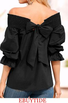 Celmia Women Sexy Bowknot Summer Blouses Shirts 2017 Casual Strapless Off Shoulder Solid Black White Tops Femme Blusas Vestidos Shirts & Tops, Shirt Blouses, Casual Shirts, Bow Shirts, Girl Sleeves, Bow Tops, Summer Blouses, Summer Shirts, Summer Tops
