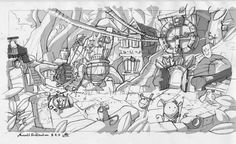 """""""Mousewood Square"""" Concept Sketch by Matt Kempke"""