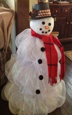 Deco Mesh Snowman   Tomato Cage Base And White Lights #Christmas Decor|  Http: