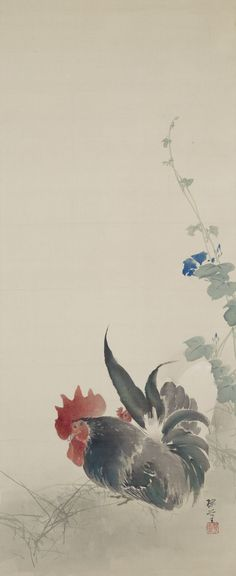 rephotographed Oukoku KONOSHIMA's work in the posession of Oukoku-Bunko Chickens And Roosters, Chinese Painting, Brush Strokes, Aesthetic Art, Asian Art, Japanese Art, Fantasy Art, Im Not Perfect, Decorating Ideas